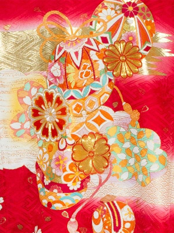 【正絹】お宮参り女の子1153赤 刺繍花とまり