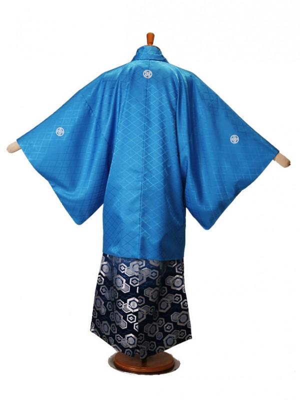 男性用袴ブルー5/銀飛亀甲柄青337-M