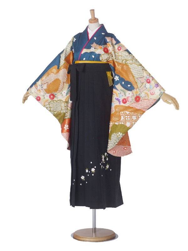 レンタル 袴 二尺袖 LLサイズ 絵羽柄 No.1921