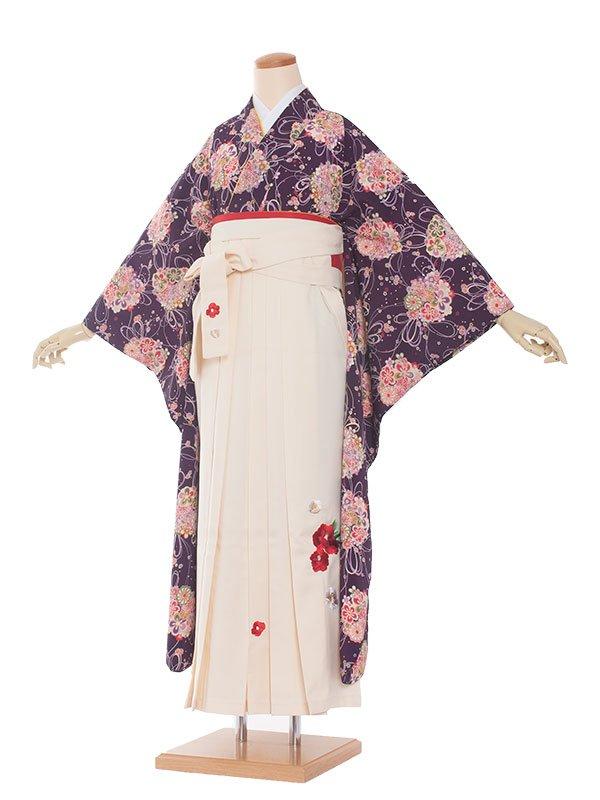 卒業袴レンタル(0028)紫・花束柄/白袴