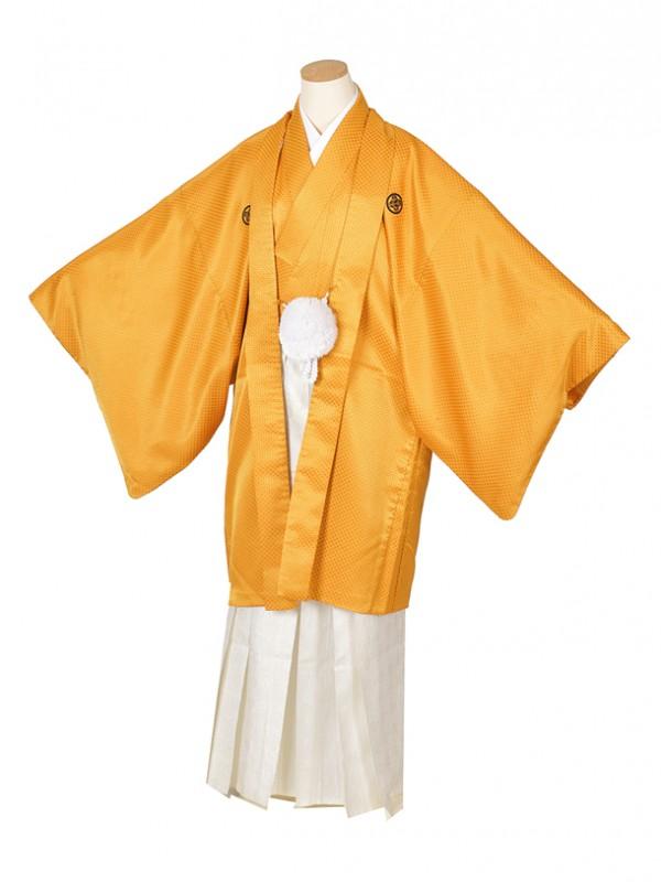 男性用袴・成人式・山吹 白地紋 6号