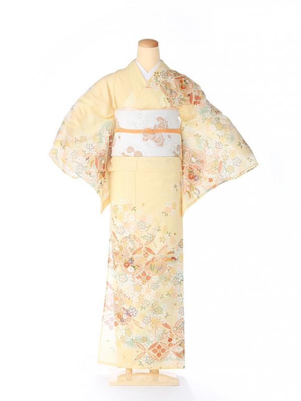 絽 訪問着 japan style 七宝 黄色 5069