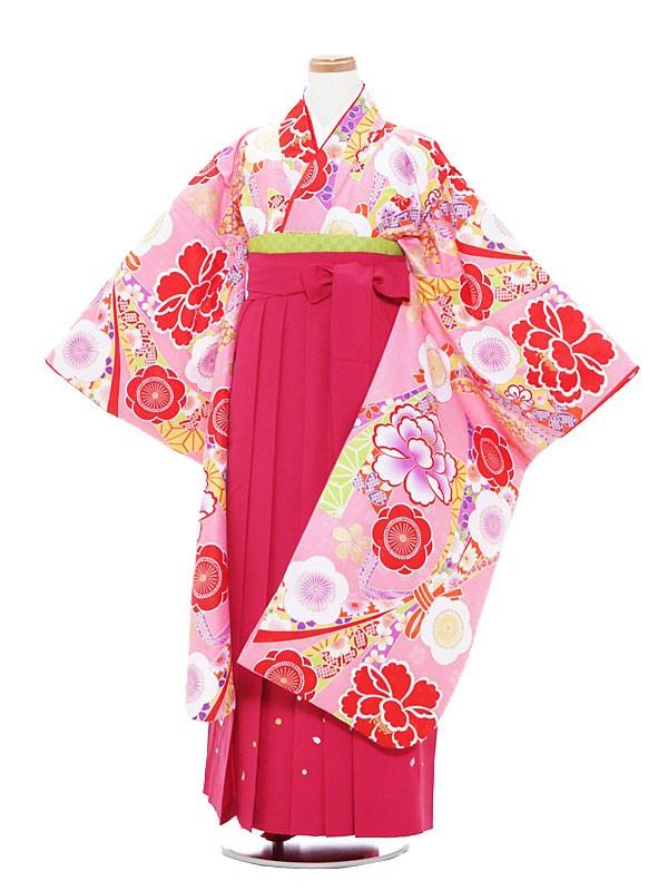 小学生卒業式袴 (女児)ピンク×ピンク/梅1312