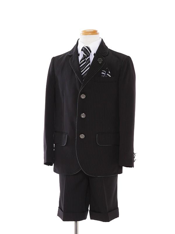 [男児スーツ]半ズボン/黒3つ釦ストライプ/白シャツBS23