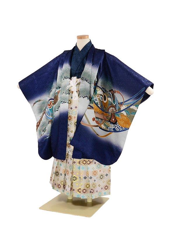 七五三 5歳男袴 兜 松 紺