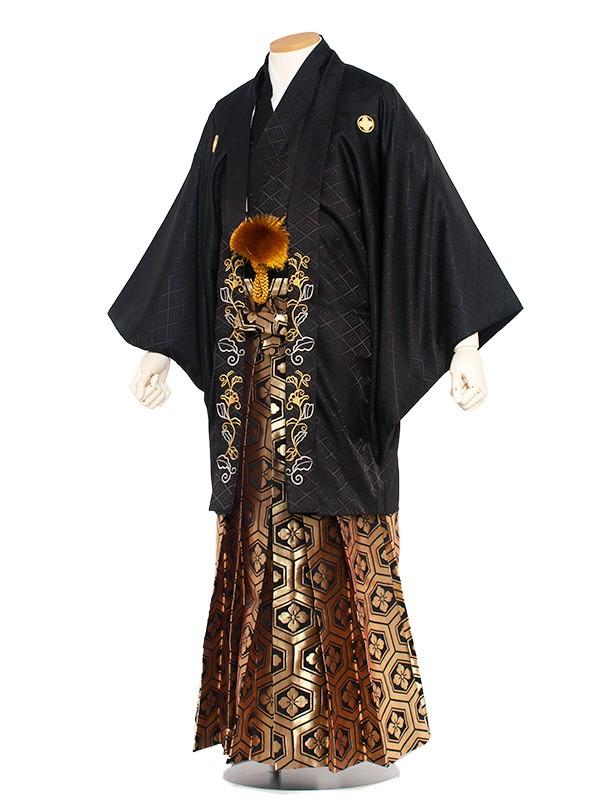 男性用袴レンタル 6号 黒紋付 蔓草刺繍/6B05