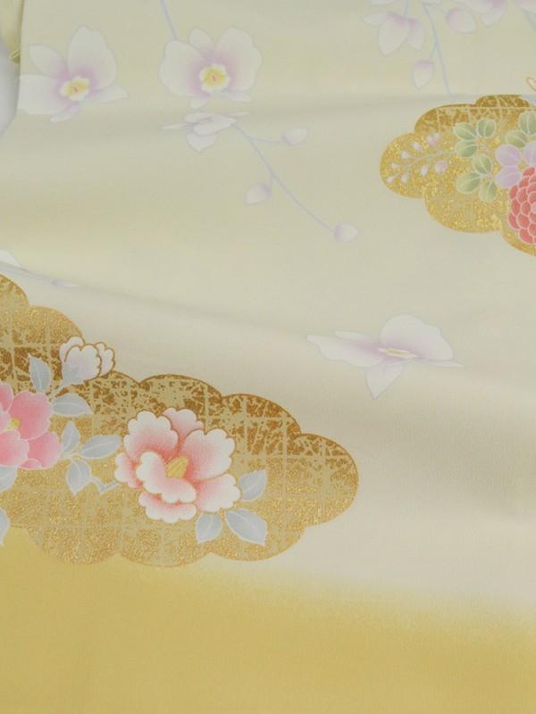 訪問着0014 クリーム地に雲取りと菊
