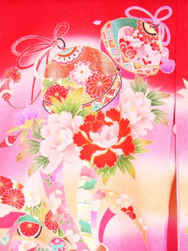 【正絹】お宮参り女の子162 赤 /花鈴と束のし