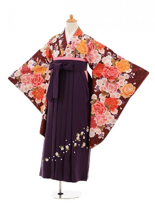 小学生卒業式袴レンタル(女の子)9179 ワインレッド地バラ×パー
