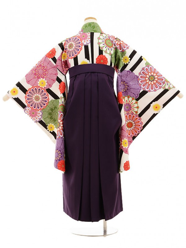 小学生卒業式袴レンタル(女の子)9526 白黒縞菊×パープル袴