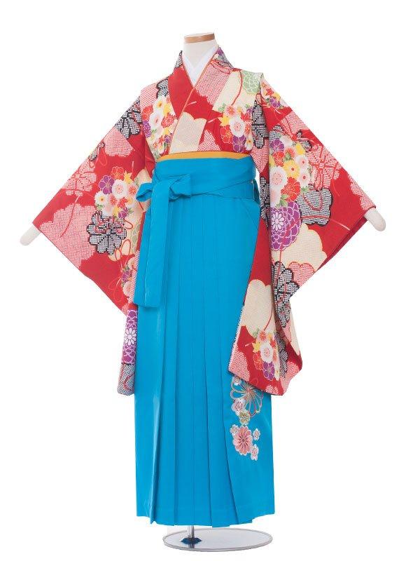 小学生卒業袴レンタル(女の子)176 赤×花束柄/水色袴