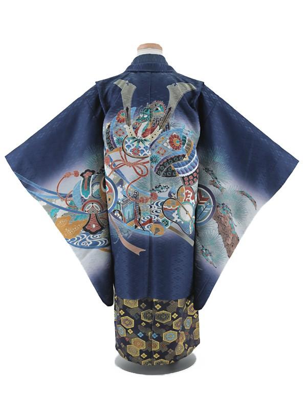 七五三レンタル(5歳男袴)5009 紺地 兜に軍配
