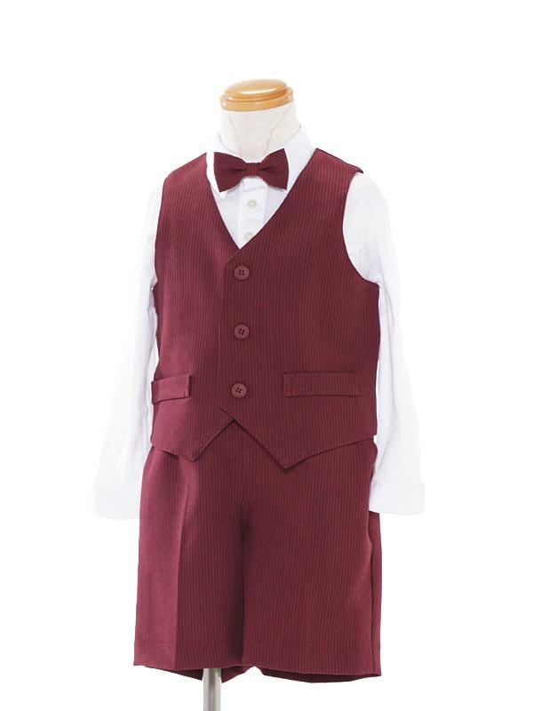 [男児スーツ]半ズボン/ベスト付/ボルドー×白ストライプ/BS25