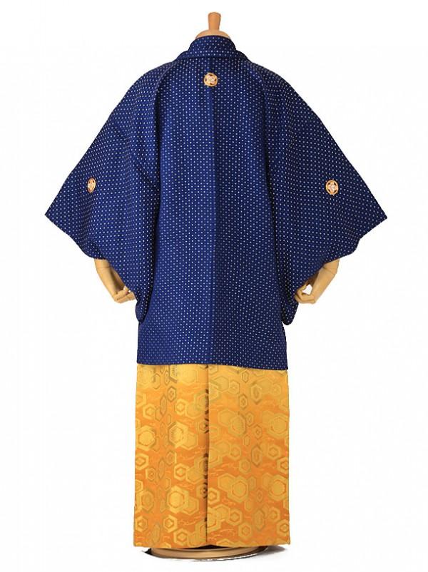 卒業式成人式袴レンタル 青紋付×金袴 0096