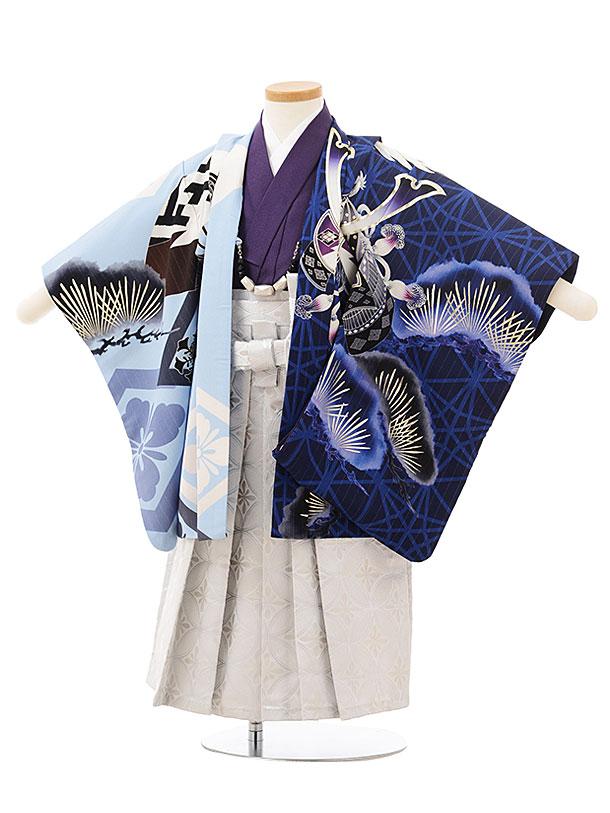 七五三レンタル(3歳男児袴)2470JAPANSTYLE 絵羽ブルー水色鷹に松