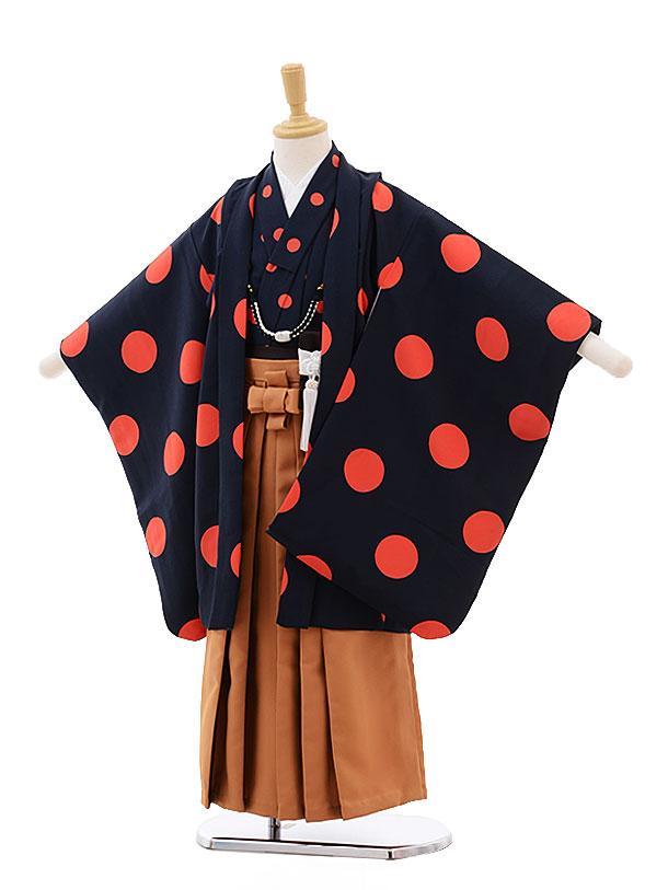 七五三(5男袴)5307 紺 オレンジ ドット×茶袴