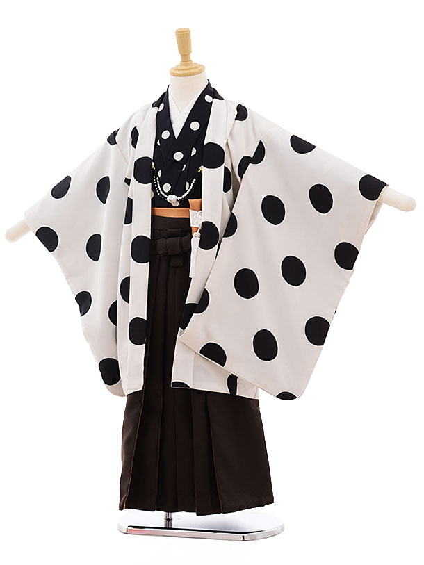 七五三レンタル(5男袴)5342 白黒 ドット×濃茶袴