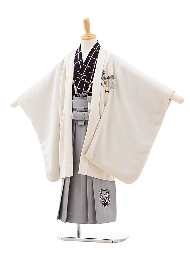 七五三(5歳男袴)5431 白地 鷹 ししゅう×グレー袴