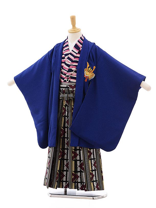 七五三(5歳男袴)5434 ブルー かぶと ししゅう×シルバーゴールド袴