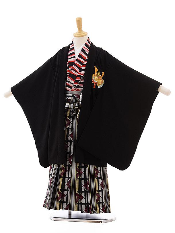 七五三(5歳男袴)5435 黒地 かぶと ししゅう×シルバーゴールド袴