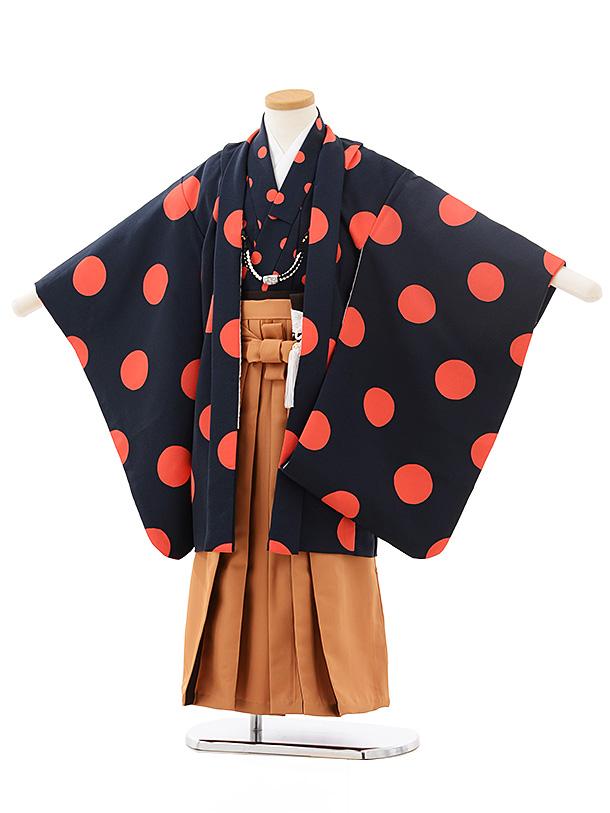七五三(5男袴)5565 紺 オレンジ ドット×茶色袴
