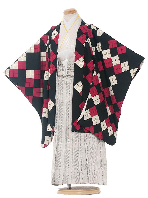 七五三レンタル(5歳男袴)5255 赤黒ダイヤ