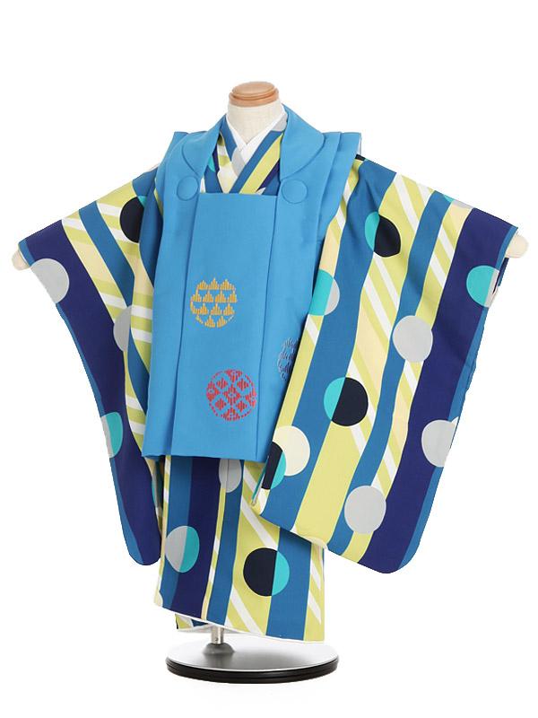七五三男児3歳 329B ミモア ブルードット刺繍/青・黄緑ストライプドット