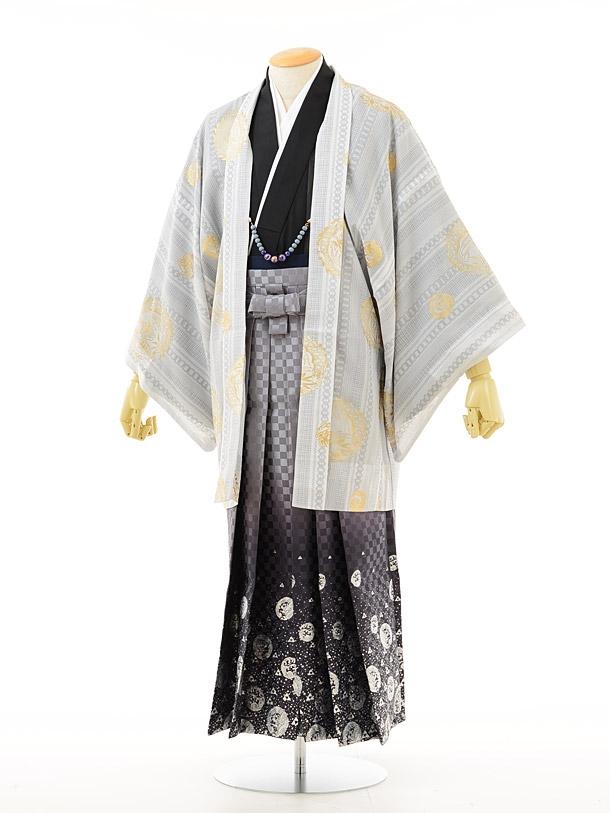 夏男性用袴men0018白小紋黒×龍ラメ(M)