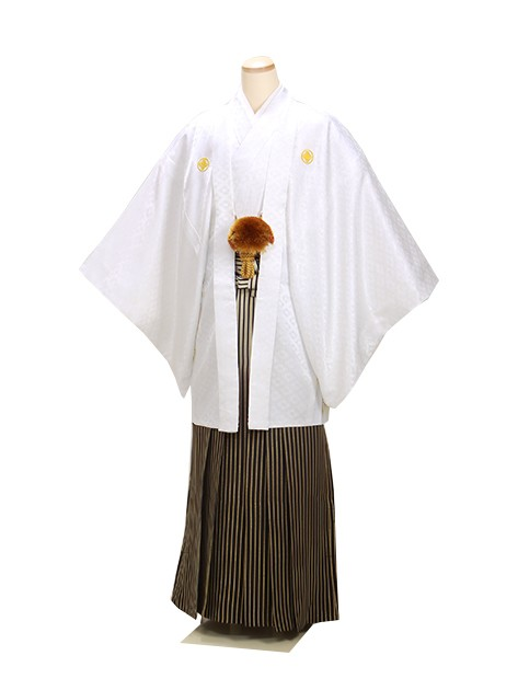 男紋付袴 卒業式 成人式 白 LLサイズ