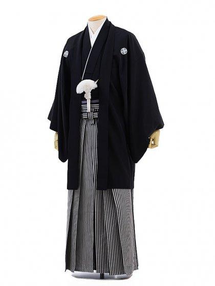 男性用袴レンタル men0006黒紋付×白黒縞(3S)/