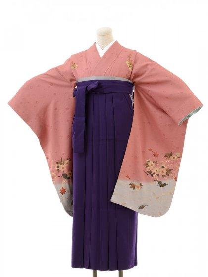 正絹女袴s129オールドローズ地に小花/紫無地袴