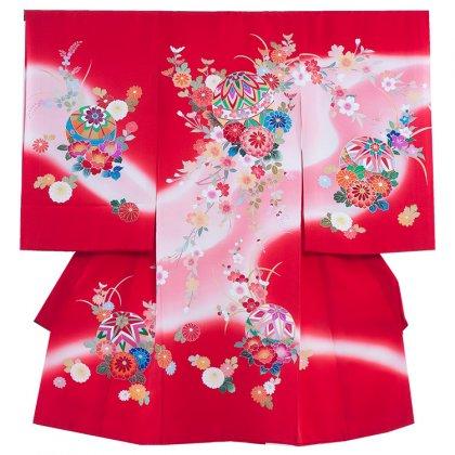 お宮参り女児1012 赤地/毬と菊・手描き友禅