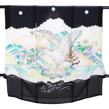 男児産着 黒 SB15 高級正絹 五つ紋 絽 夏用