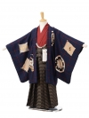 753レンタル(5歳男の子袴)05112モダンアンテナ紺×黄