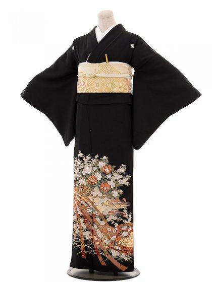 夏黒留袖th016熨斗に花車〔単衣〕