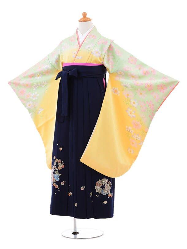 小学生卒業式袴(女の子)レンタルB009イエロー