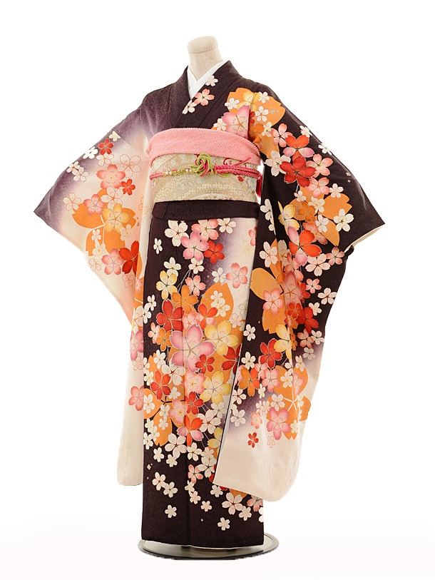 振袖E102 茶色白ぼかし桜