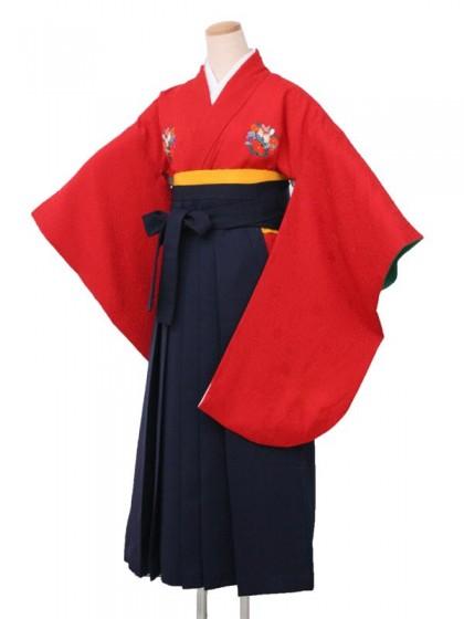 卒業袴レンタル 1705赤地花紋