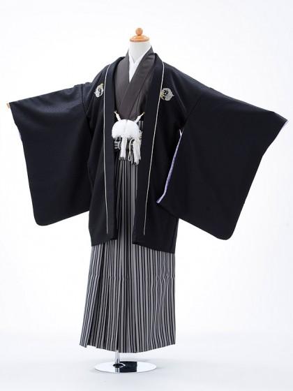 ジュニア袴男児0909黒×黒縞