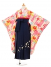 小学生卒業式袴レンタル(女の子)9190 ピンク矢絣橘×紺袴