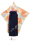 小学生卒業式袴レンタル(女の子)9215 小町クリームに水色×