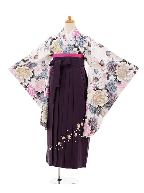 小学生卒業式袴レンタル(女の子)9180 白地牡丹×パープル