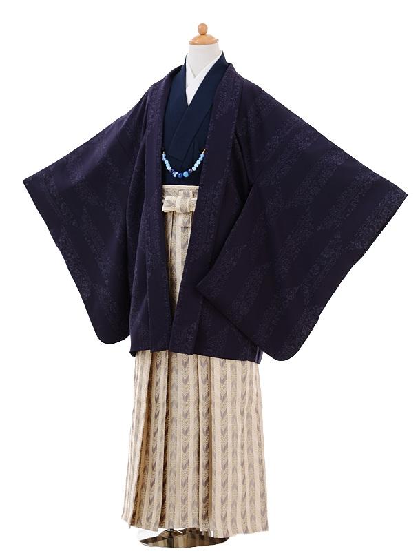 小学生卒業式袴男児9340紫矢絣×ベージュ袴