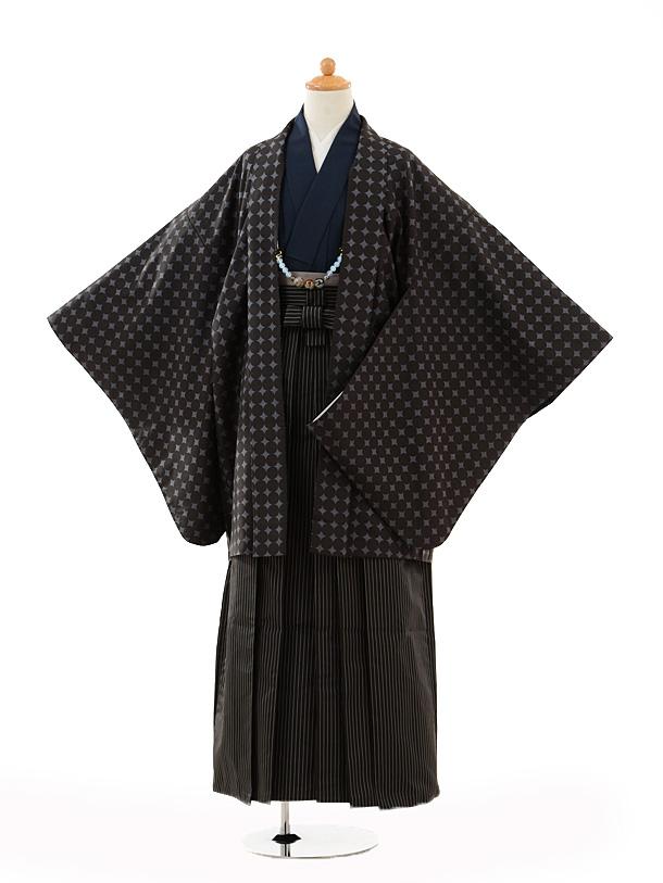 小学生卒業式袴男児9101黒地丸×黒縞袴