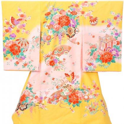 女児産着5n79黄色/ピンク 蝶 マリ 牡丹