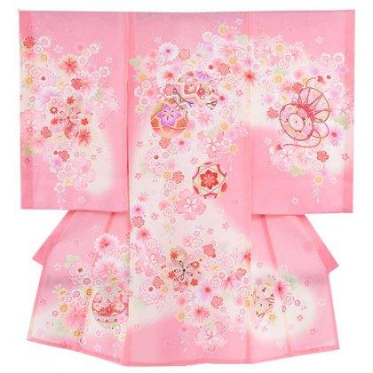 女児産着33(正絹)ピンク地/毬と小華