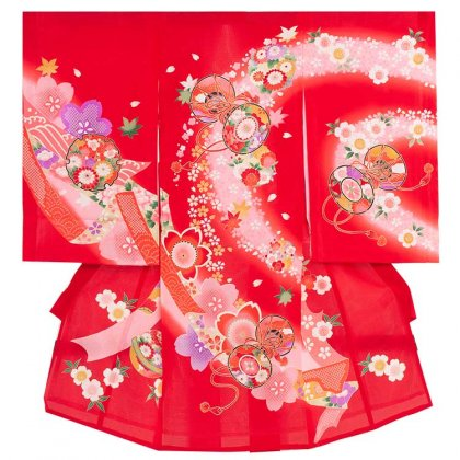 女児産着39(正絹)赤地/小槌と桜