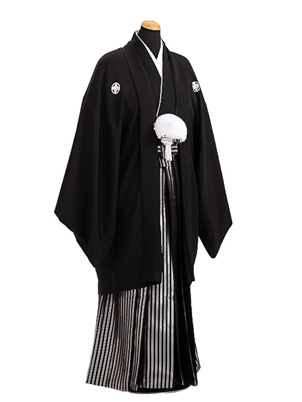 卒業式成人式袴レンタル140*7正絹黒紋付/黒銀縞