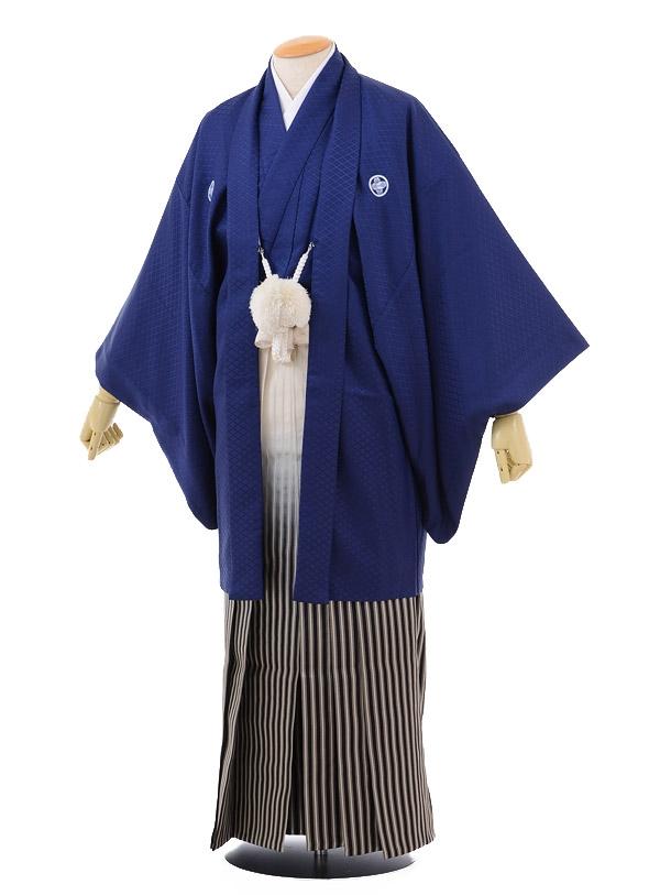 卒業式成人式袴レンタル162紺紋付×シルバー黒ぼか