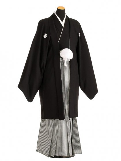 卒業式成人式袴レンタル133*5正絹黒紋付/地味袴